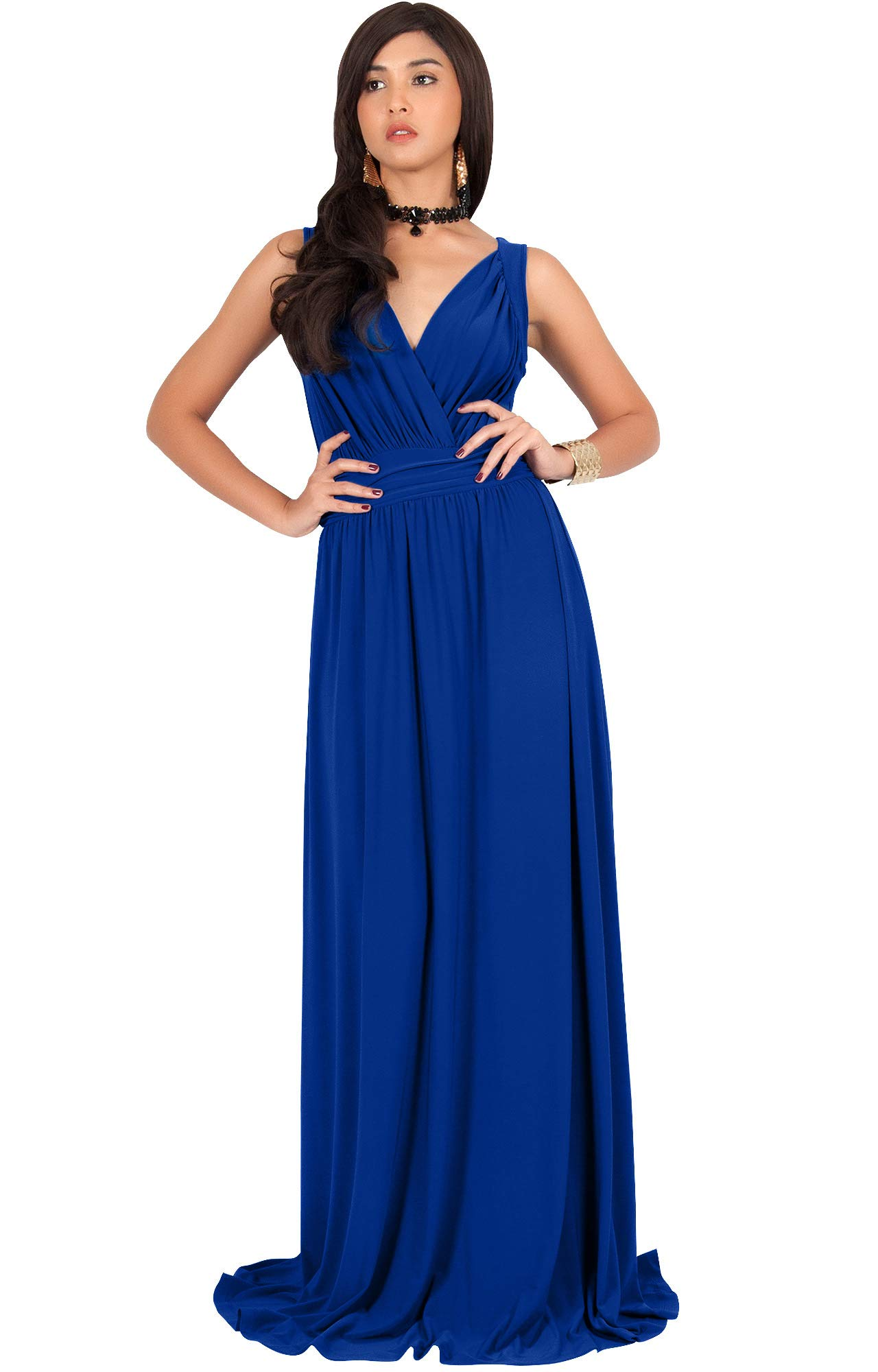 f5f1469d95 KOH KOH Plus Size Womens Long Sleeveless Flowy Bridesmaids Cocktail Party Evening  Formal Sexy Summer Wedding Guest Ball Prom Gown Gowns Maxi Dress Dresses