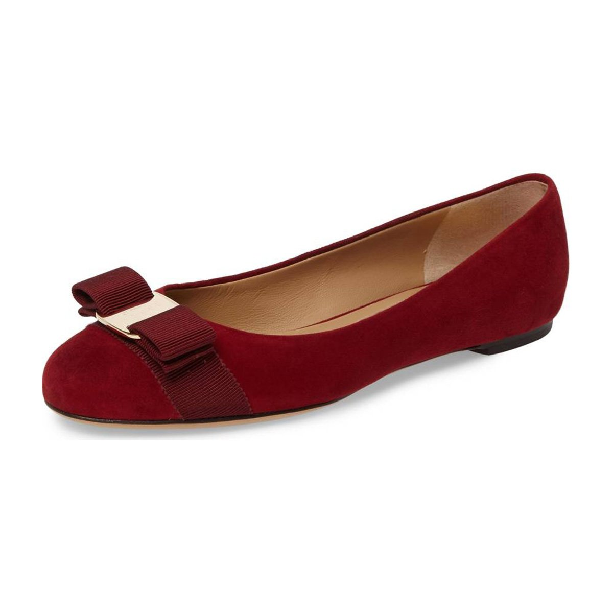 FSJ Women Cute Bowknot Round Toe Ballet Flats Slip On Casual Office Comfy Pumps Shoes Size 4-15 US B077P9VMQ8 9.5 B(M) US|Red-suede