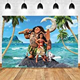 MMY 5x3ft Moana Maui Beach Theme Backdrop Baby Shower Girl Birthday Party Background Cake Table Dress-up Large Banner Supplies Photobooth Props