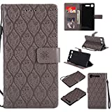 Sony Xperia XZ1 Case, Lomogo Leather Wallet Case with Kickstand Card Holder Shockproof Flip Case Cover for Sony Xperia XZ1 - LOYYO23535 Grey