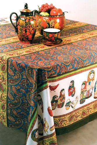 "Russian Linen ""Nesting Dolls"" Tablecloth"