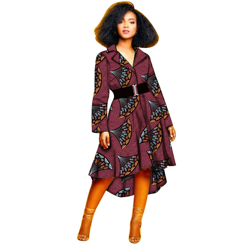 243 RealWax African Dresses for Women Flower Floral Fashion Clothes Dress Dashiki Girl Print Mixi with Belt
