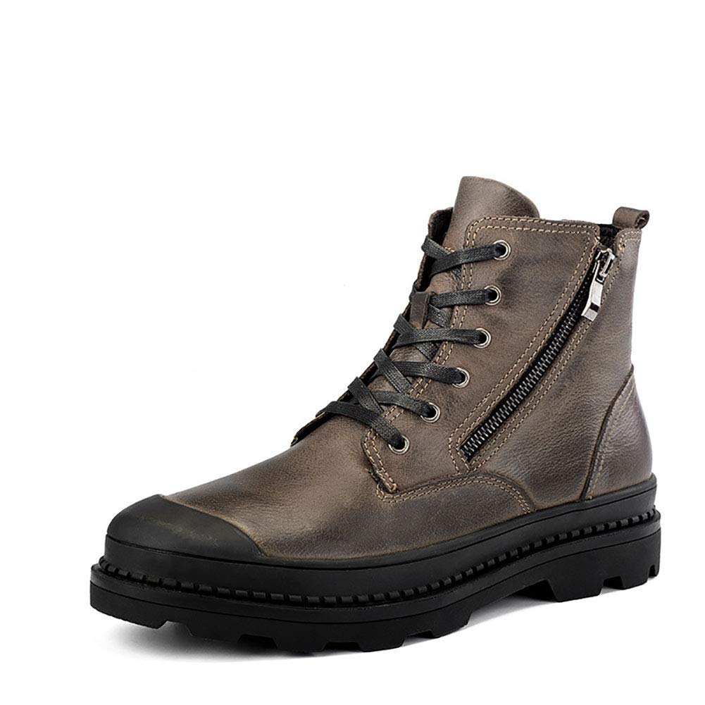 - ZHRUI Men's Leather Martin Boots Double Zipper Winter Plus Velvet Warm Non-Slip Breathable Cotton shoes (color   Brown, Size   EU41 UK7)