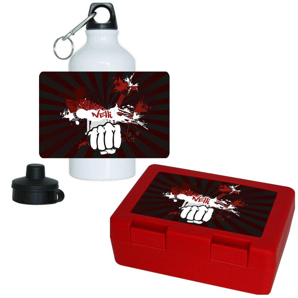Brotdose + Trinkflasche Set mit Namen Nelli und schönem Motiv mit dunkelroten Strahlen und Faust   Aluminium-Trinflasche   Lunchbox   Vesperbox