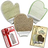 Natural Eco Friendly Body Scrub Exfoliator Gloves: Bamboo Fiber and Loofah, Jute and Sisal Mitts