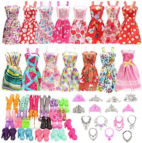 BARWA 32 pcs Barbi Doll Clothes and Accessories 10 pcs Party Dresses 22 pcs Shoes, Crown, Necklace Accessories for 11.5 inch Doll