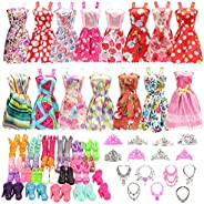 BARWA 32 pcs Doll Clothes and Accessories 10 pcs Party Dresses 22 pcs Shoes, Crown, Necklace Accessories for 1