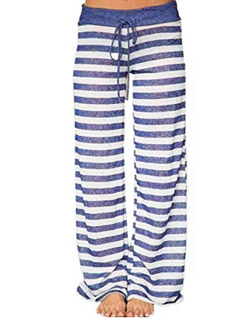 bluee Famulily Women's Comfy Light Weight Loose Striped Palazzo Pj Lounge Pants