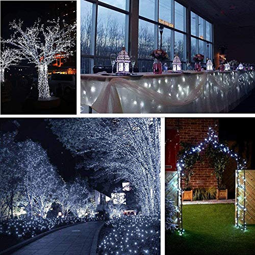 Upgraded Solar Outdoor String Lights- 100 LED 8 Modes Copper Wire Lights, 2-Pack Solar Garden Lights, Waterproof Fairy Lights for Tree, Patio, Home, Yard, Pathway, Party, Wedding (32FT, White)