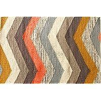 Multi Chevron Stripe Rug by Nate Berkus. Handcrafted 2x3 / 60x90 cm Multicolor Chevron/Zig-Zag Pattern Rug/Mat, Style: 2632