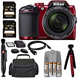 Nikon COOLPIX B500 Digital Camera (Red) + NiMH Batteries and Charger Set + Sony 16GB SDHC Card + Sony 32GB SDHC Card + Memory Card Reader + Tripod + 6 HDMI to Micro HDMI Cable Bundle