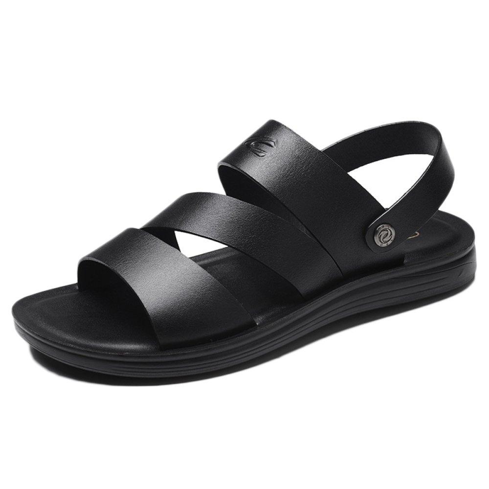 snfgoij Sandalias Para Hombres Deportes Al Aire Libre Ajustables Zapatos Cómodos Para La Playa Calzado Abierto De Cuero Genuino De Verano 41 EU|Black2
