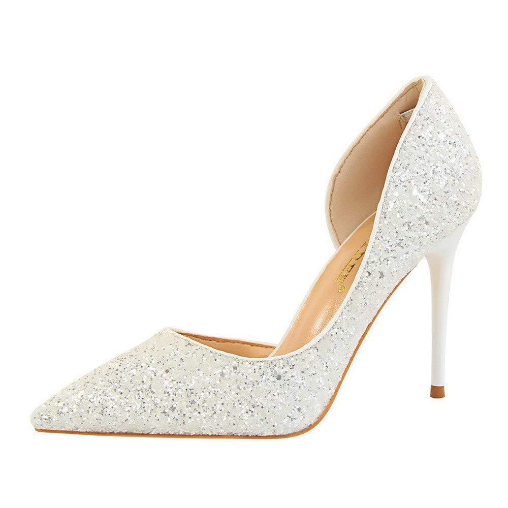 ZHRUI Schuhe Damen Stiefel Mode Einzelne Schuhe Frauen Pumps Extrem Sexy High Heels Damen Schuhe Dünne Fersen Weibliche Schuhe Erbsenschuhe Stiefel (Farbe   Weiß Größe   41 EU)