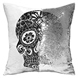 "DrCosy Holloween Gift Mermaid Pillow Case 16""x16"" Magic reversible Sequins Pillow Covers (Silver/White Skull Print)"