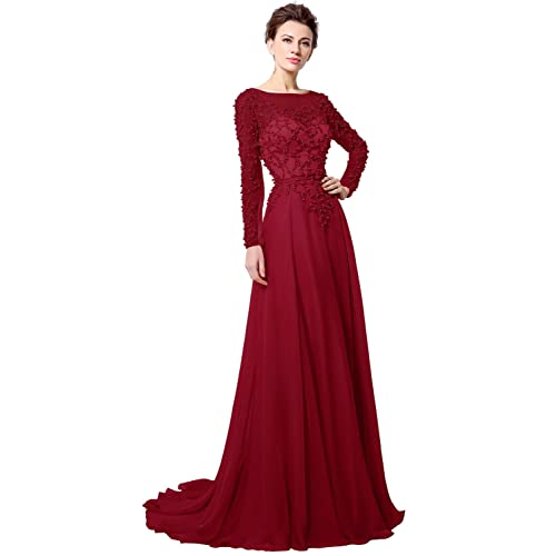 Clearbridal Womens Long Chiffon Prom Party Dress Long Sleeves Evening Gowns with Pearls and Crystal CLX051