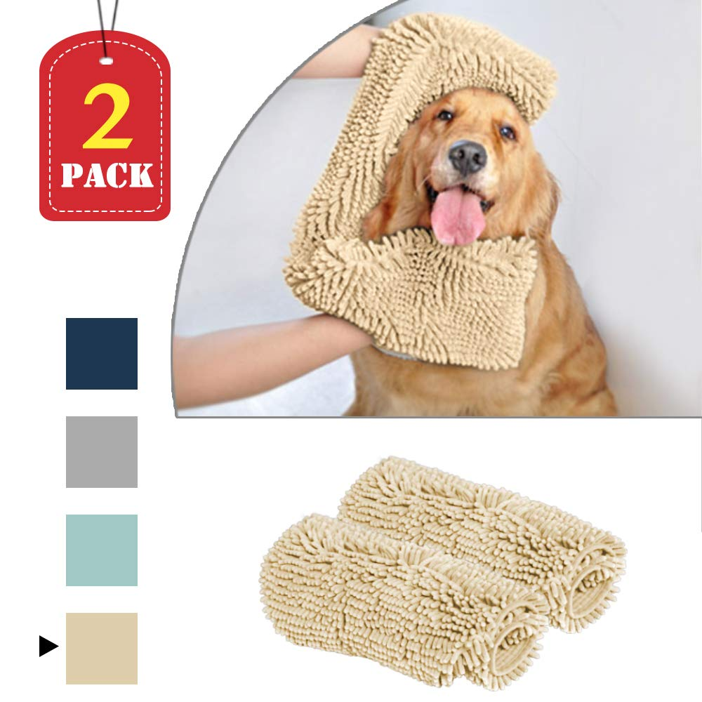 Taupe 2 Pack   24\ Taupe 2 Pack   24\ H.VERSAILTEX Superduty Shammy Absorbent Durable Quick Drying Towels for Dogs Bath & Shower Ultra Soft Microfiber Chenille Washable Pet Bath Towels with Pockets, 2 Pack, Each 24 x 14 inches, Taupe