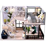 CUTEBEE DIY Dollhouse Miniature with Furniture, DIY Wooden Dollhouse Kit Plus Dust Proof and Music Movement, Creative Room fo