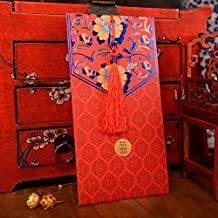 Hotstar Red Envelopes Traditional Chinese Wedding, Tassels and Peony Design, New Year Gifts, Red Packets Pack of 6