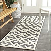Safavieh Chatham Collection CHT719D Handmade Dark Grey and Ivory Premium Wool Runner (23 x 7)