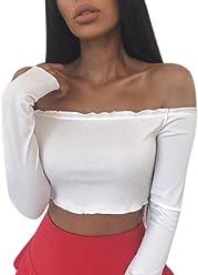 datework Womens Off Shoulder Crop Tops Frill Bralet Boobtube Jumper Tops  Blouses fcacad325