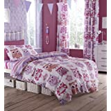 Catherine Lansfield Striped Owl Duvet Set Girls Fun Reversible Quilt Cover (Double)
