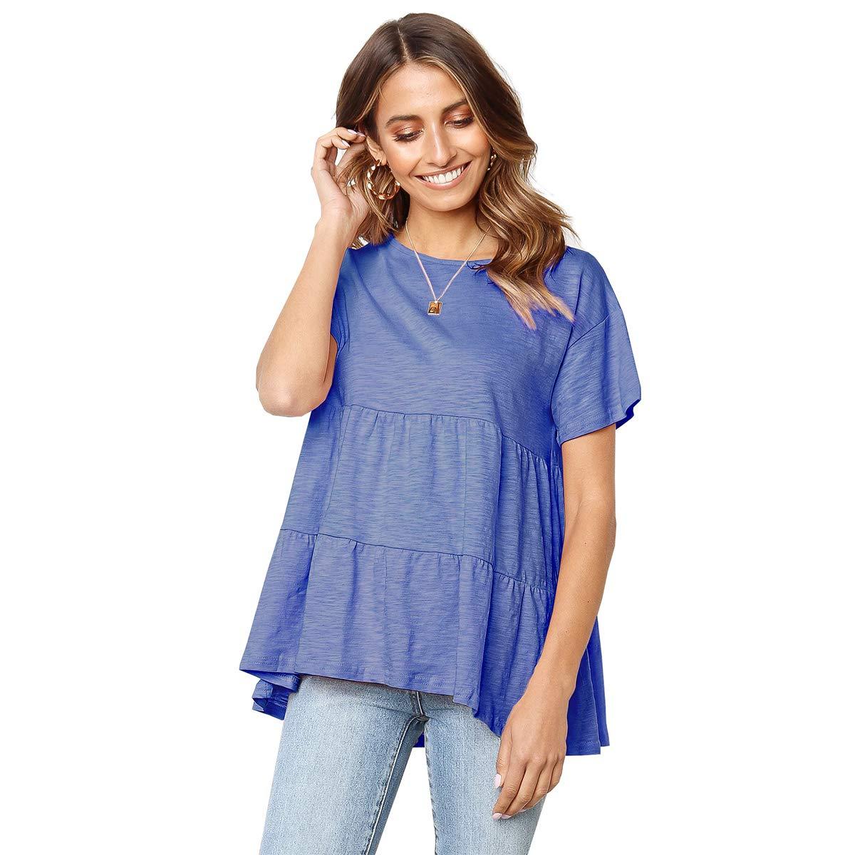 bluee OEUVRE Women's Short Sleeve Contrast Black color Trim Plain Tshirts