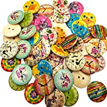 Pack of 50 Printed Round 2 Holes Wooden Buttons Sewing Buttons Embellishments for Crafting 20mm