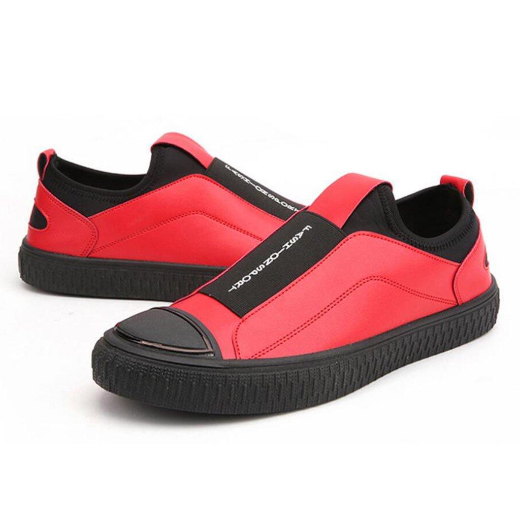GAOLIXIA Zapatos deportivos de PU para hombre Zapatos ocasionales de primavera Zapatos de trabajo de baja ayuda para estudiantes (Color : Rojo, tamaño : 41) 41|Rojo