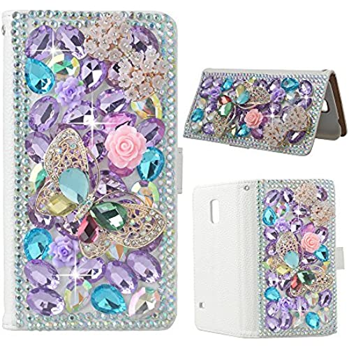 S7 Case, Galaxy S7 Wallet Case EVTECH(tm) 3D Handmade Bling Crystal PU Leather with Pink Shiny Diamonds Elegant Golden Butterfly Flip Cover for Samsung Galaxy Sales