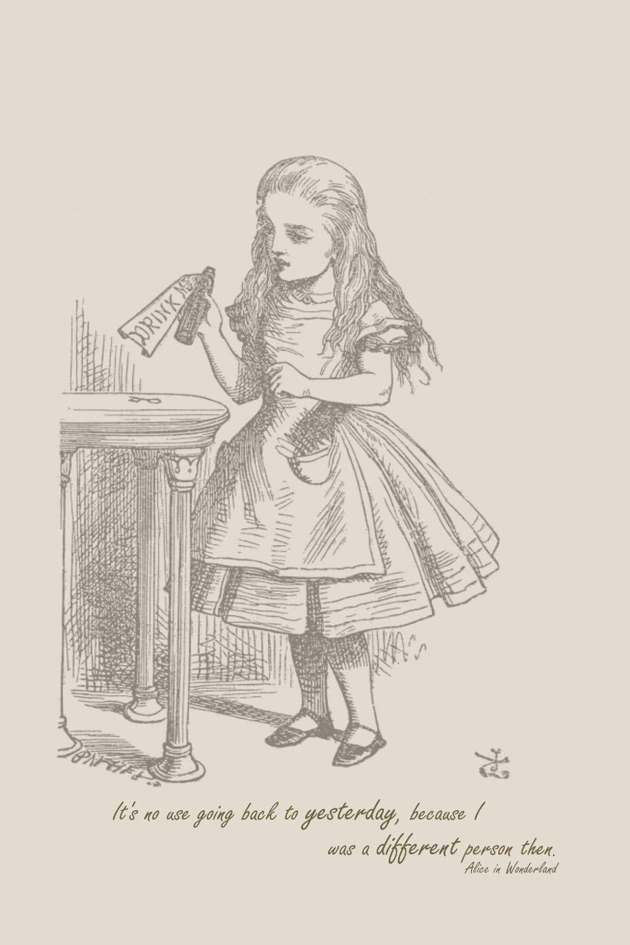 Without a Bail Dollhouse Miniature There Is No Use Going Back To Yesterday Because I Was A Different Person Then Alice In Wonderland Lewis Carroll