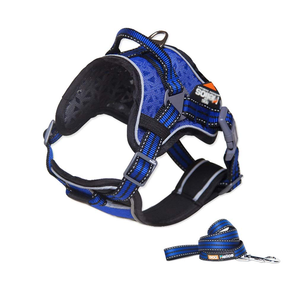 bluee SDog Vest Harness, Pet Chest Strap With Handle Reflective Heavy Duty Strong Adjustable For Small Medium Large Dogs Training Walking Safety Buffer Traction (color   orange, Size   L)