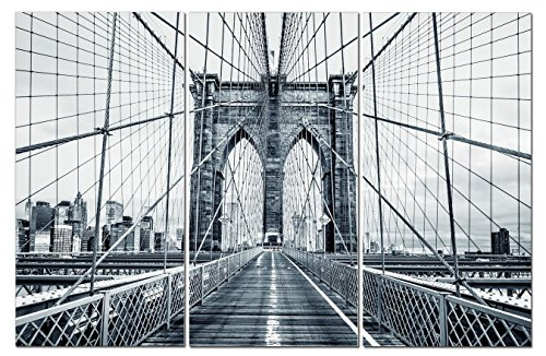 Stunning Views Beautiful Black & White Brooklyn Bridge NYC - Multi Panel Split Canvas Wall Art Set - 12 x 24 3 piece (Total size 24 x 36 inch) – Gallery wrapped & framed décor piece – Ready to hang!