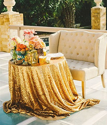 "B-COOL Gold 50"" Round elegant Sequin tablecloth for Wedding Party Christmas"
