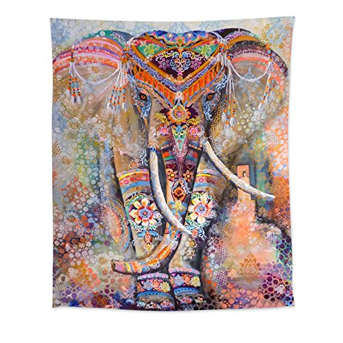 Uphome Muticolor Ethnic Elephant Bohemian Tapestry Hanging – Light-weight Polyester Fabric Wall Decor (60H x 51W)