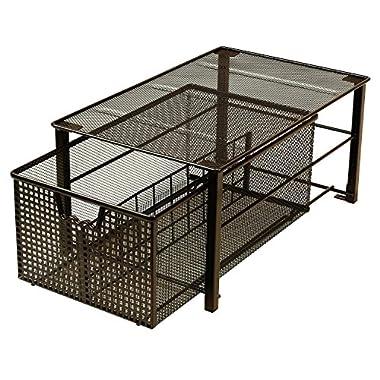 DecoBros Mesh Cabinet Basket Organizer, Bronze (Large - 10 x 15.8 x 7.5)