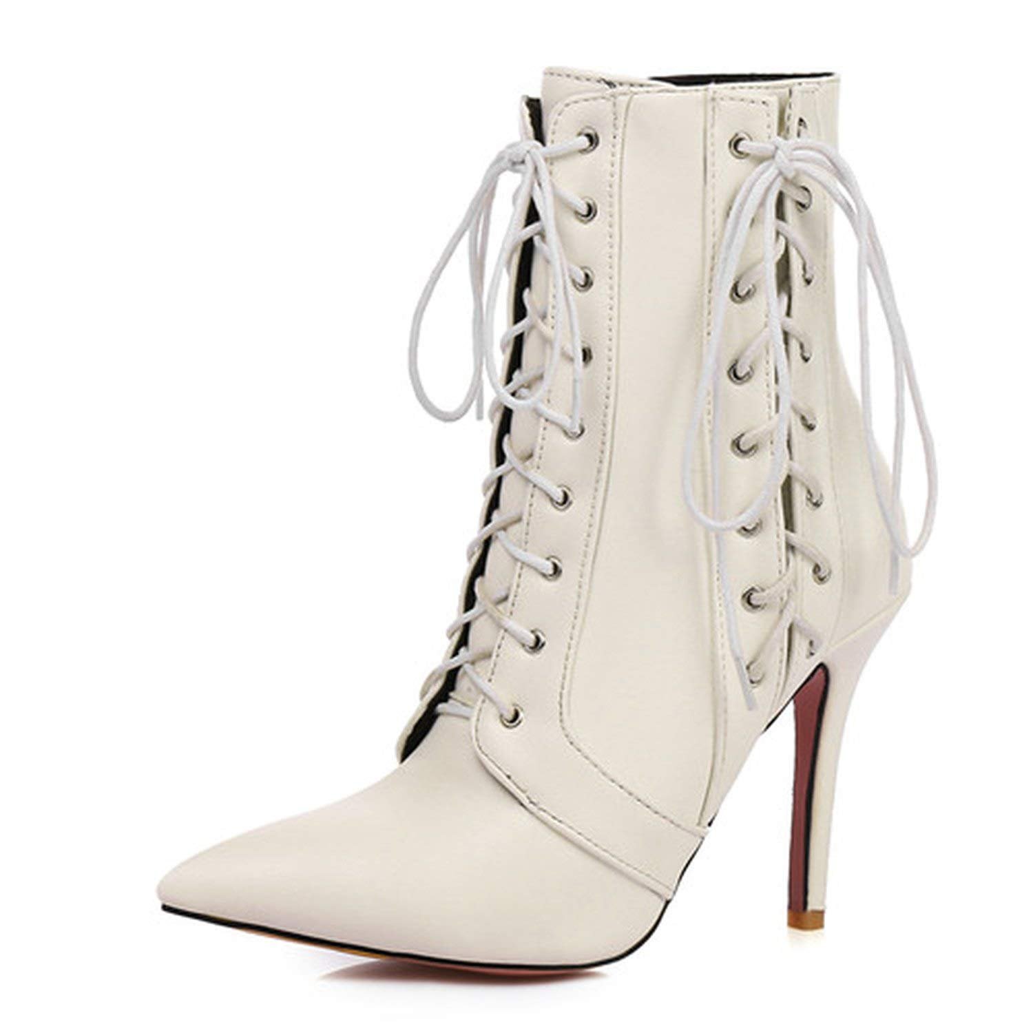 White Ankle Boots for Women Platform High Heels Female Lace Up shoesn Buckle Short Boot