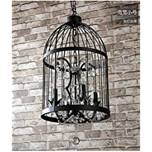 BLYC- Continental design Personality Chandelier creative interior light Bird cage in black crystal candle Chandelier , 4 head