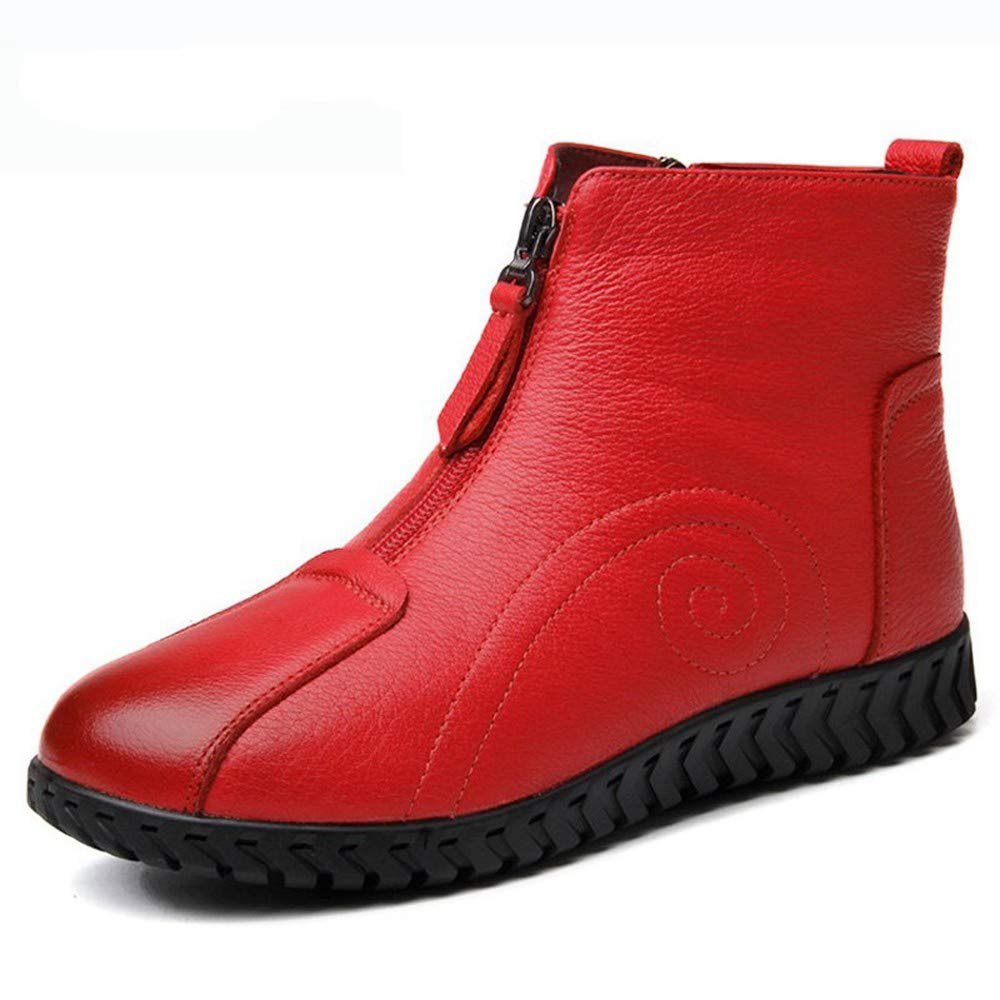 PINGXIANNV Weichen Komfort Wind Herbst Winter Stiefel Flach  Rutschfeste Mutter Leder Schuhe Frau Stiefel Ankle Stiefel