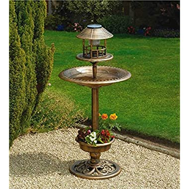 Solar LED Lighthed Bronze Resin Weatherproof Bird Bath Feeder Planter Garden Outdoor Patio Yard Decor