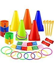 FEPITO 6 in 1 Sports Party Games Set Soft Traffic Cone Bean Bags Ring Toss Legged Race for Indoor Outdoor Family Game Garden Game Sports Day Games Supplies