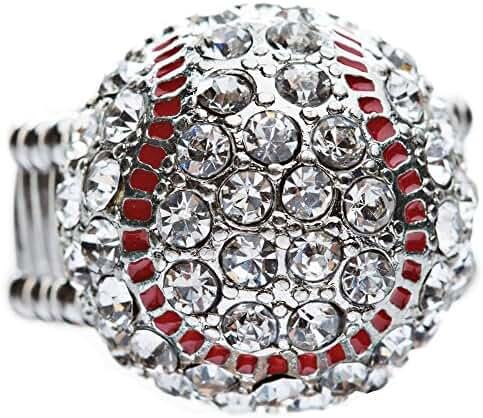 Sport Baseball Crystal Rhinestone 20mm Stretch Adjustable Ring Silver Clear