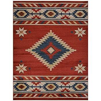 "Nevita Collection Southwestern Native American Design Area Rug Rugs Geometric (Orange (Terra) Blue Beige Red, 53"" x 71"")"