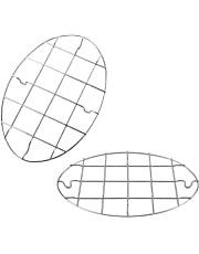 T&B 9.8x6.7 Inch Oval Roasting Cooling Rack 304 Stainless Steel Baking Broiling Rack Cookware 0.8 Inch heigh Set of 2