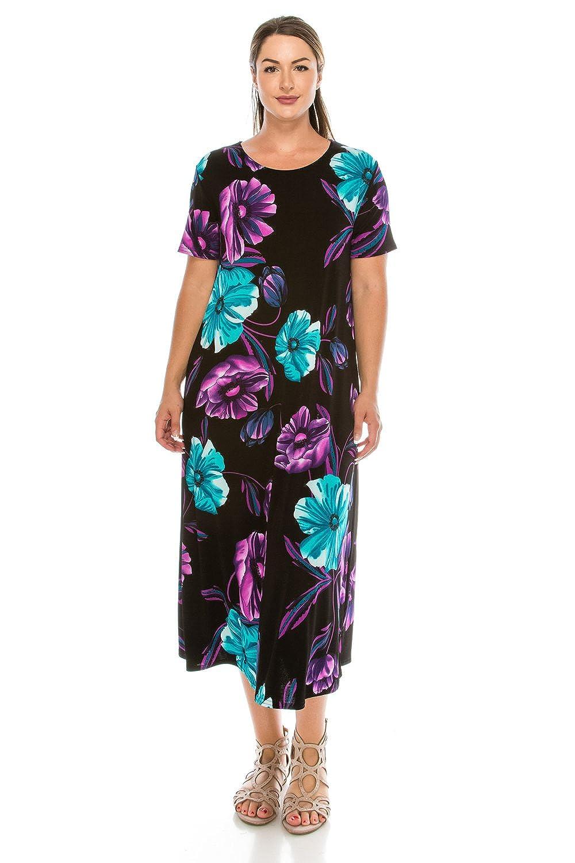 W099 Purple Jostar Women's Stretchy Long Dress Short Sleeve Print