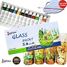 Lasten®12 Colors Transparent and Permanent Glass Paint Set, Non-toxic for Window Art Painting Kit, Art Painting Suppliers for Adult (with Free Palette and Paint Brush)