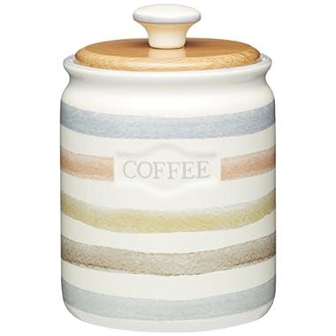 Kitchencraft Classic Collection Striped Ceramic Coffee Storage Jar, 800ml (28