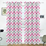 ALIREA White Gray Pink Chevron Blackout Curtains Darkening Thermal Insulated Polyester Grommet Top Blind Curtain for Bedroom, Living Room,2 Panel (55W x 84L Inch)