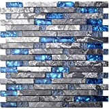 Home Building Glass Tile Kitchen Backsplash Idea Bath Shower Wall Decor Blue Gray Wave Marble Interlocking Pattern Art Mosaics Tstmgt002 1 Sample 4 X