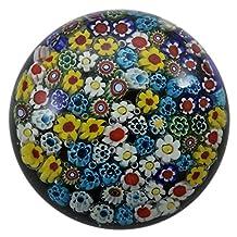Art Glass Paperweight Handmade Millefiori Style Black Background