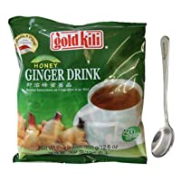 Ginger Honey Drink Gold Kili 40 Sachets Packed in 2 Bags, 12.6 oz Free Steel Spoon...
